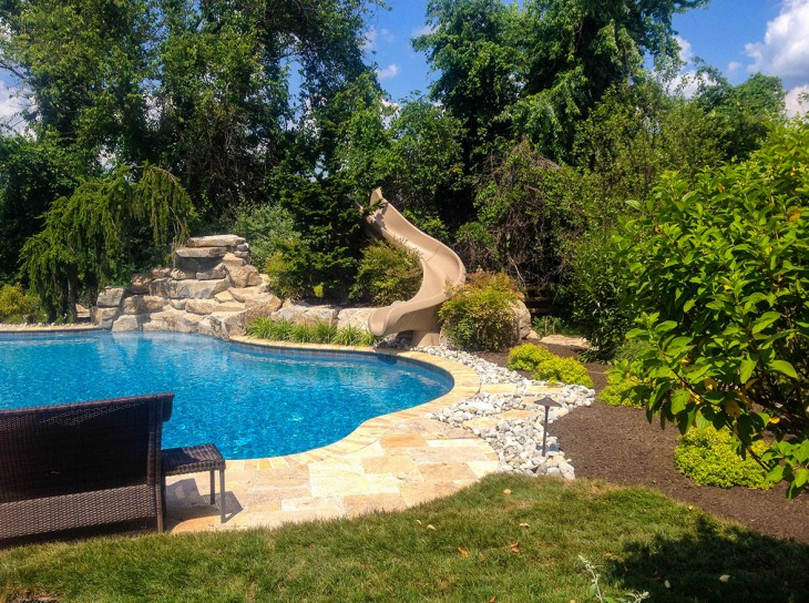 Pool Slide integrated with Landscaping