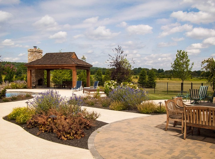 Large yard with covered seating area and landscaping