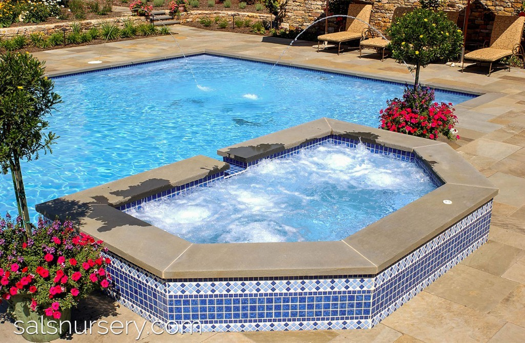 Spa built into pool with water features
