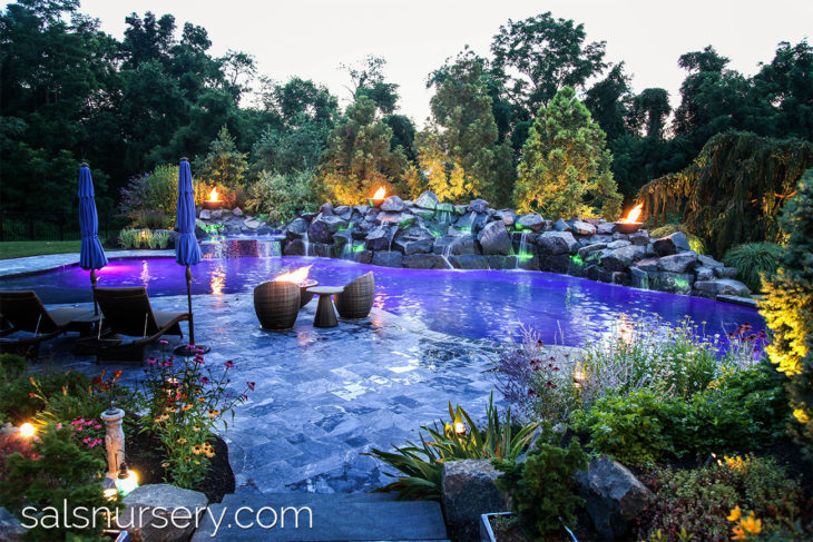 Colored Outdoor Lighting and Torches for in ground pool