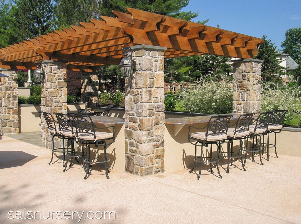 Large Outdoor Kitchen and Patio under a Pergola