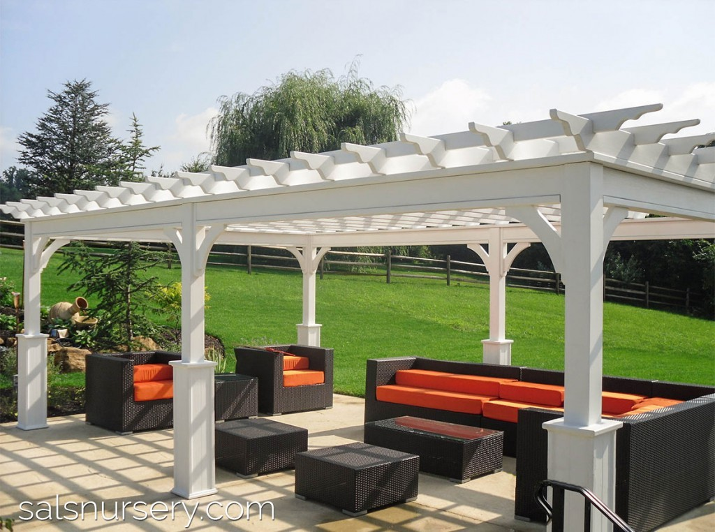 Contemporary Outdoor Furniture under white Pergola
