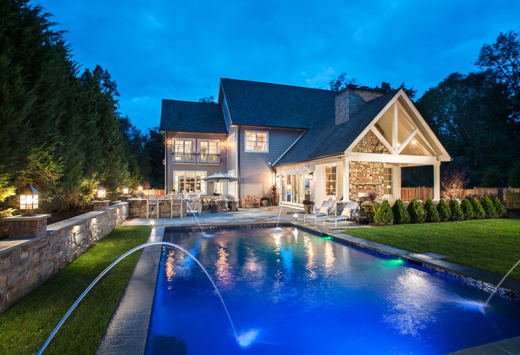 Large pool with outdoor kitchen and covered patio