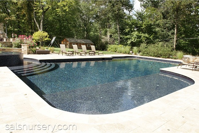 Large in ground pool with lounge chairs