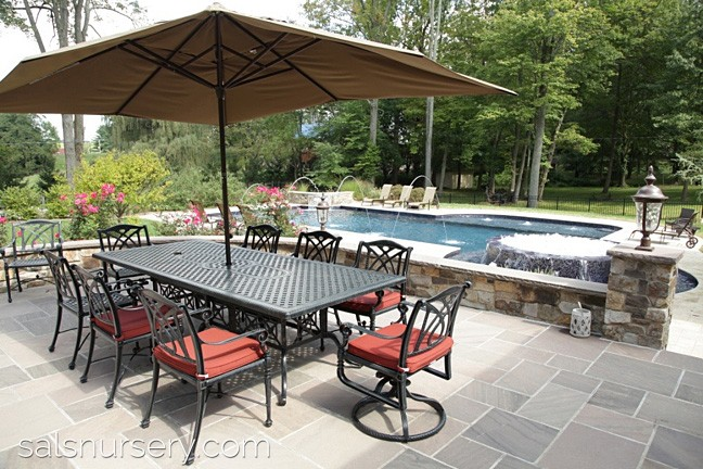 Backyard with large patio and pool with outdoor furniture