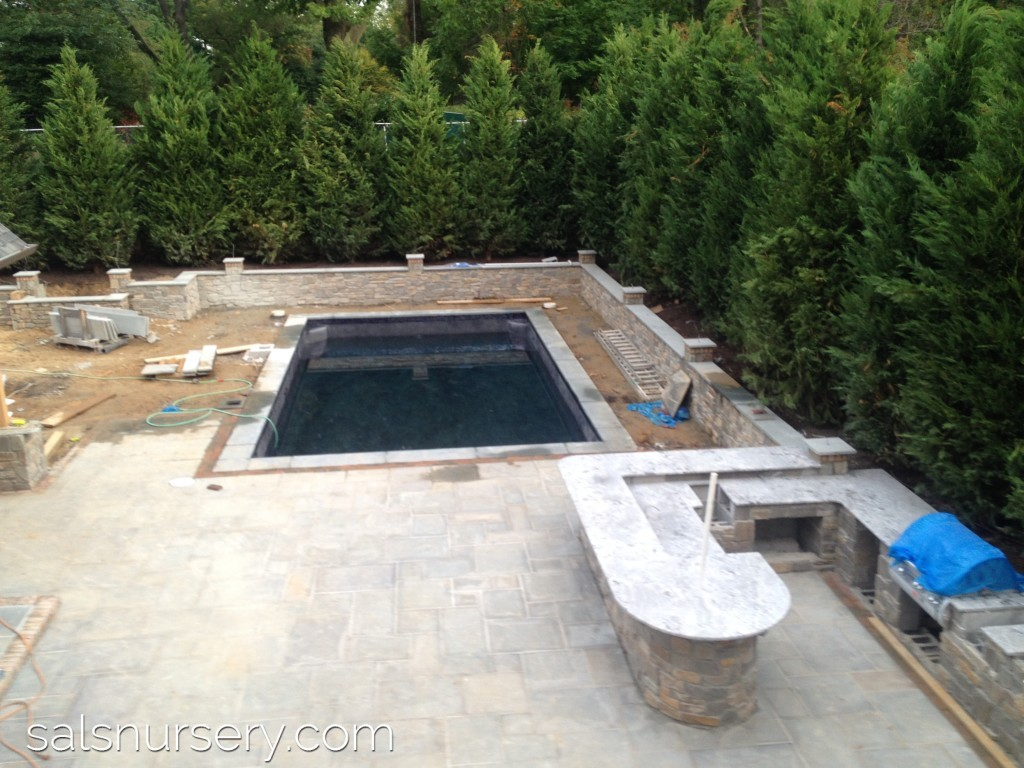 Construction of in ground pool and outdoor kitchen
