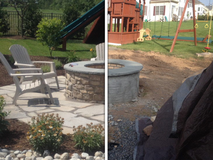 Before and After comparison of a fire pit