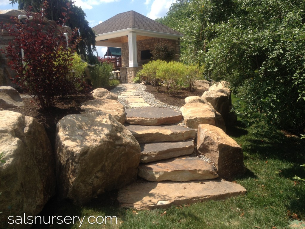 Large natural rock creating staircase