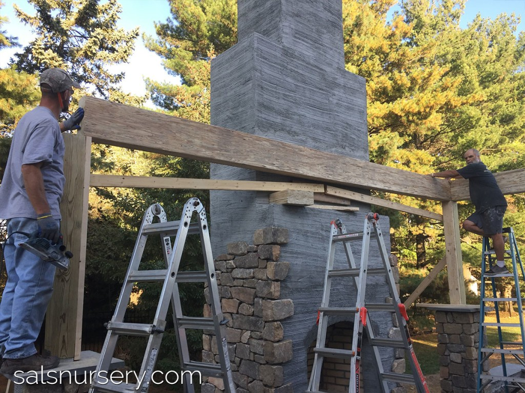 Outdoor fireplace in progress