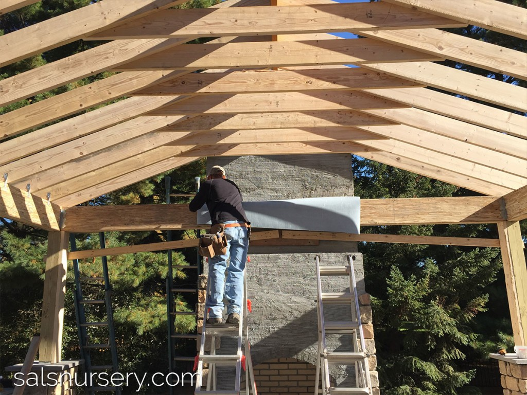 Outdoor roof in progress